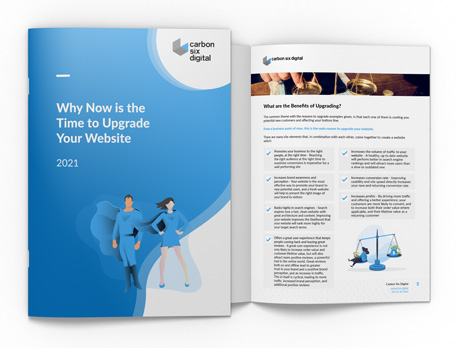 Why Now Is The Time To Upgrade Your Site Free Guide from Carbon Six Digital cover and spread